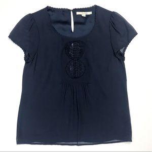 {Boden} Navy Short Sleeve Silk Blouse